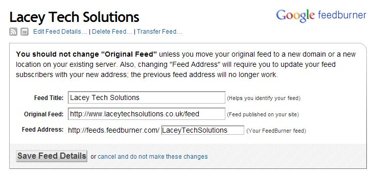 Setting up feed redirects with Feedburner